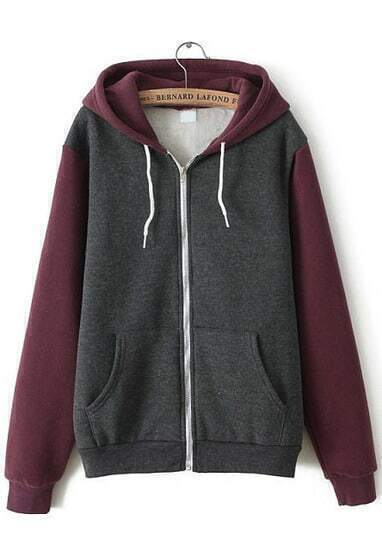 Wine Red Hooded Long Sleeve Pockets Loose Sweatshirt
