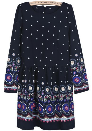 Navy Long Sleeve Vintage Floral Pleated Dress