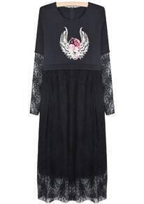 Black Contrast Lace Skull Print Dress