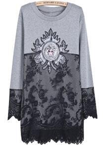 Grey Long Sleeve Contrast Lace Loose Dress