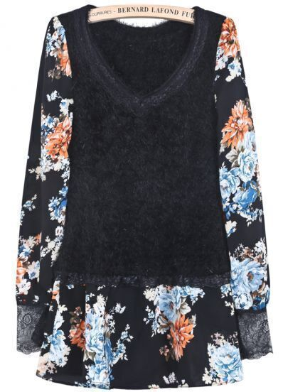 Black Contrast Blue Floral Mohair Ruffle Dress
