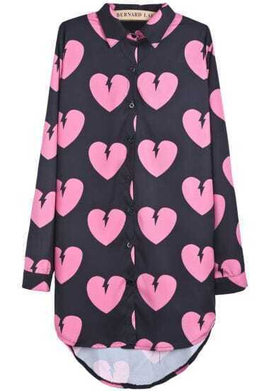 Black Long Sleeve Hearts Print Dipped Hem Blouse