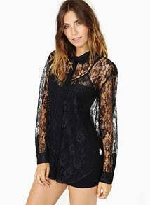 Black Long Sleeve Hollow Lace Loose Blouse