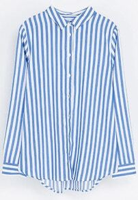 Blue White Vertical Stripe Lapel Long Sleeve Blouse