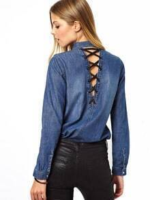 Blue Long Sleeve Bandage Hollow Denim Blouse