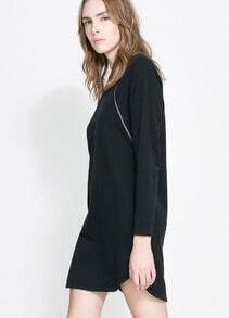 Black Long Sleeve Zipper Embellished Loose Dress