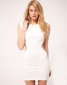 White Round Neck Sleeveless Hollow Bodycon Dress