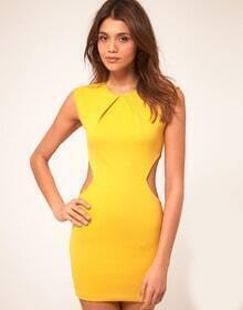 Yellow Round Neck Sleeveless Hollow Bodycon Dress