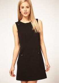 Black Round Neck Sleeveless Buttons Embellished Dress