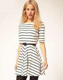 White Black Striped Half Sleeve Ruffle Dress