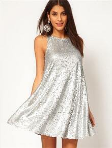 Silver Sleeveless Sequined Loose Pleated Dress