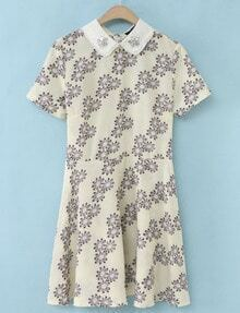 Apricot Short Sleeve Rhinestone Floral Ruffle Dress