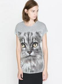 Grey Short Sleeve Cat Print T-Shirt