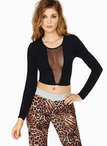 Black Contrast Sheer Mesh Yoke Crop T-Shirt
