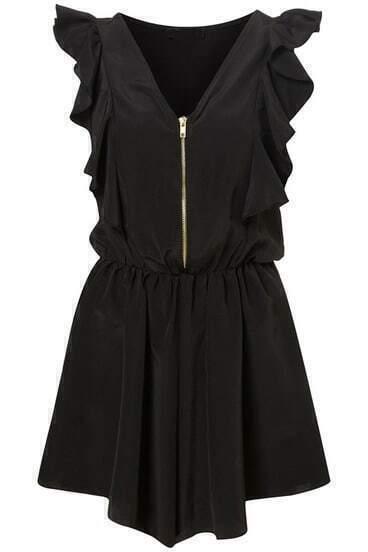 Black V Neck Sleeveless Ruffle Pleated Jumpsuits