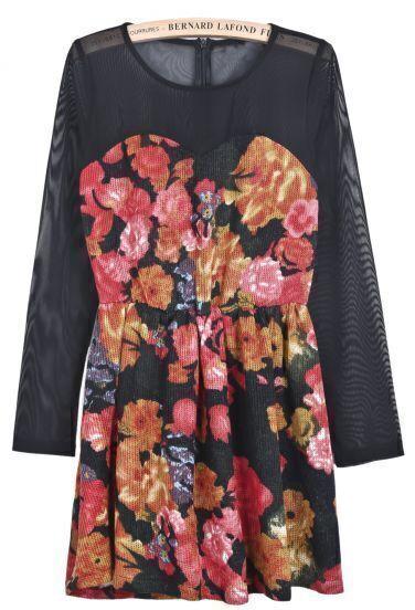 Black Long Sleeve Contrast Mesh Yoke Floral Dress