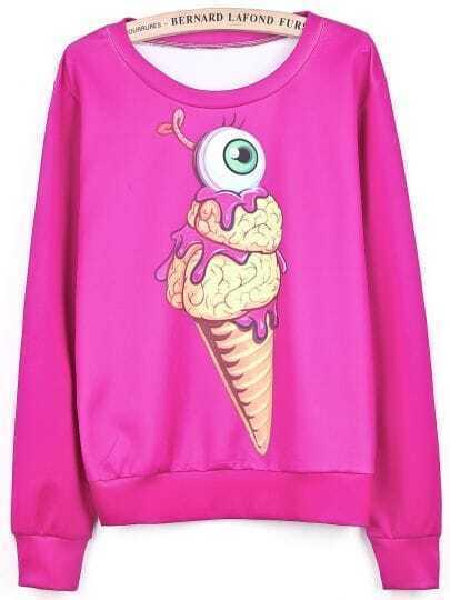 Rose Red Long Sleeve Ice Cream Eye Print Sweatshirt