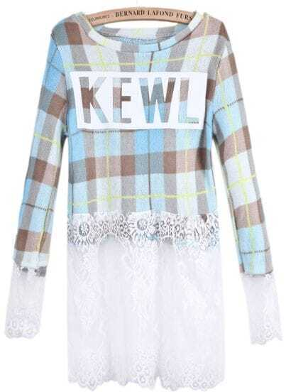 Blue Plaid Contrast Lace KEWL Print Dress