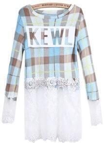 Blue Plaid Contrast Lace KEWL Print Dress