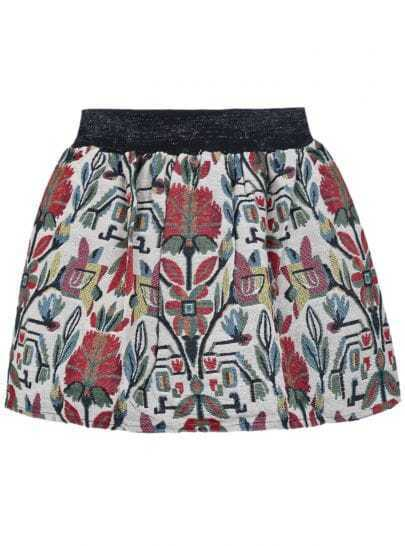 White and Red Flowers Print Short Skirt