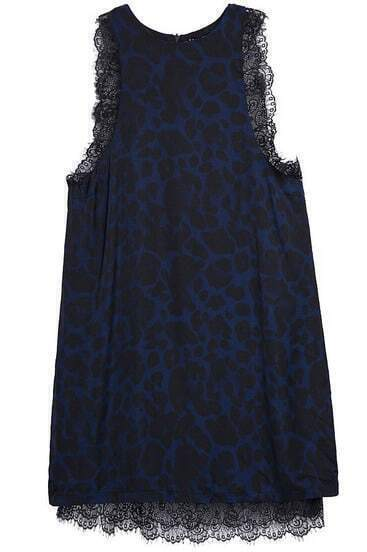 Blue Sleeveless Leopard Lace Loose Dress