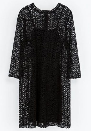 Black Long Sleeve Lace Dress With Vest