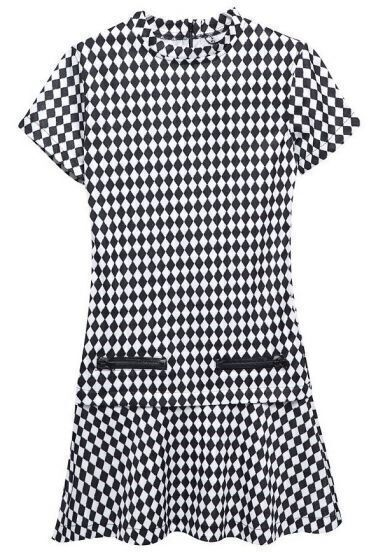 Black White Diamond Patterned Short Sleeve Ruffle Dress