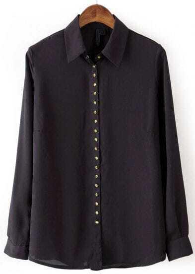 Black Lapel Long Sleeve Rivet Buttons Blouse