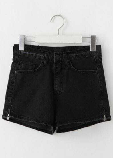 Black Slim Pockets Denim Shorts