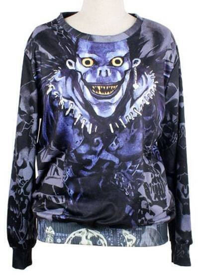 Blue Long Sleeve Skull Print Loose Sweatshirt