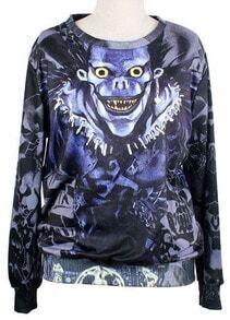 Blue Long Sleeve Skull Print Loose Sweatshirt