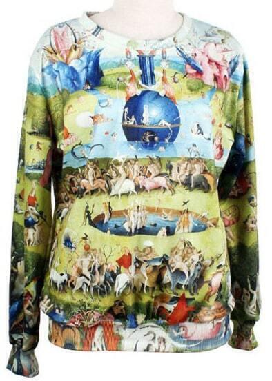 Green Long Sleeve Lovers Painting Print Sweatshirt