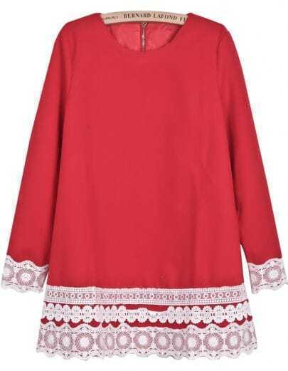 Red Long Sleeve Contrast Lace Loose Dress
