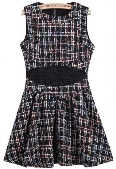 Black Sleeveless Contrast Lace Plaid Pleated Dress