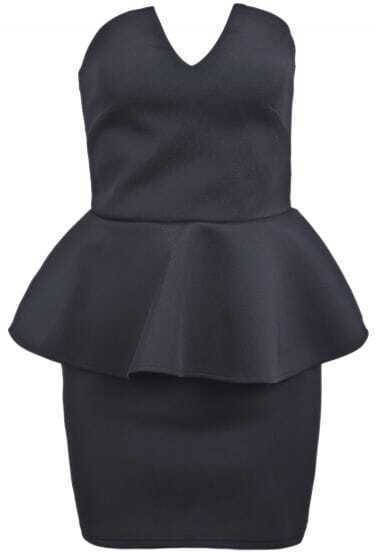 Black Strapless Ruffle Sexy Bodycon Dress