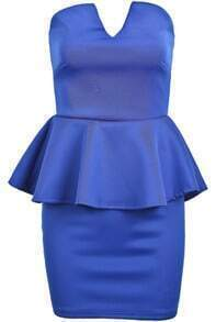Blue Strapless Ruffle Sexy Bodycon Dress