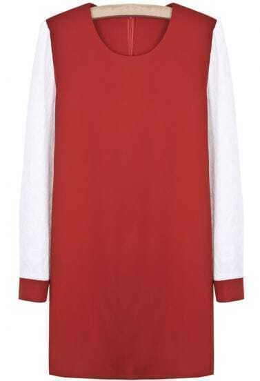 Red Contrast Long Sleeve Simple Design Dress