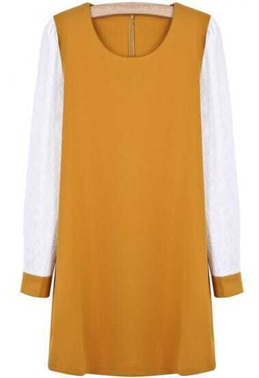 Yellow Contrast Long Sleeve Simple Design Dress