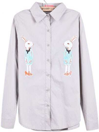 Grey Lapel Long Sleeve Rabbit Print Blouse