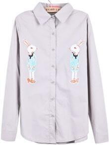Grey Lapel Long Sleeve Rabbit Print Blouse