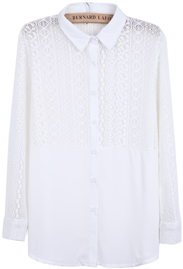 White Long Sleeve Hollow Contrast Lace Chiffon Blouse 29
