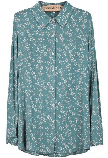 Blue Lapel Long Sleeve Vintage Floral Blouse