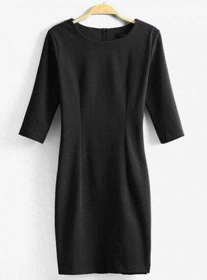 Black Round Neck Half Sleeve Slim Bodycon Dress