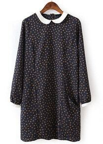 Navy Long Sleeve Polka Dot Loose Dress
