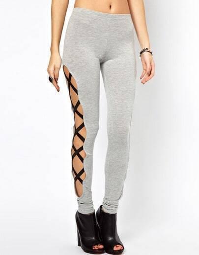 Grey Skinny Side Bandage Elastic Leggings