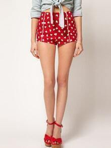 Red Low Waist Hearts Print Shorts