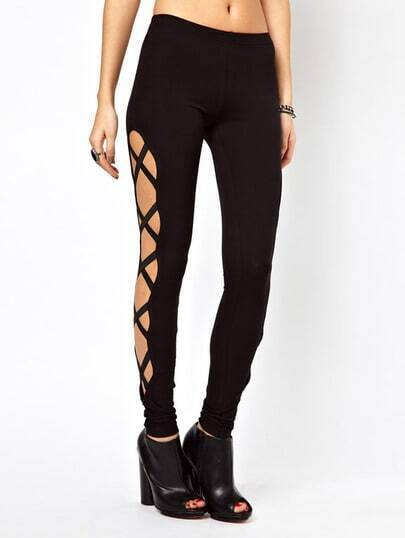 Black Skinny Side Bandage Elastic Leggings