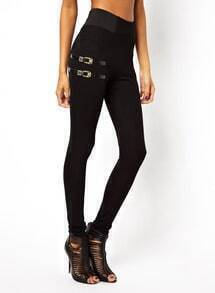 Black Slim Elastic Leather Buckle Leggings