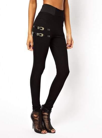Black Slim Elastic Leather Buckle Leggings