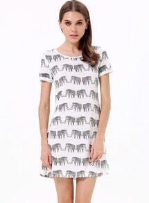 White Short Sleeve Elephants Print Loose T-Shirt